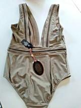 Ted Baker London Pointelle Deep V Khaki One Piece SwimSuit Size 5/ XL US image 2