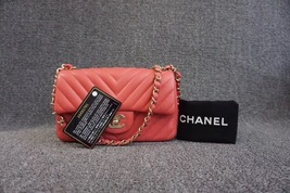 AUTH CHANEL RED PINK CHEVRON LAMBSKIN LARGE MINI 20CM RECTANGULAR FLAP BAG NEW