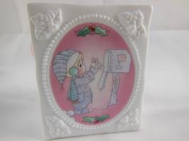 """Precious Moments Porcelain 3"""" Gift Bag 1994 White Christmas mailbox orna... - $8.90"""