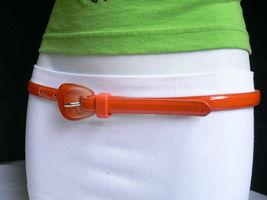 Nuevo Moda Mujer Correa Trendy Skinny Naranja Brillante Delgado Imitación Cuero image 12