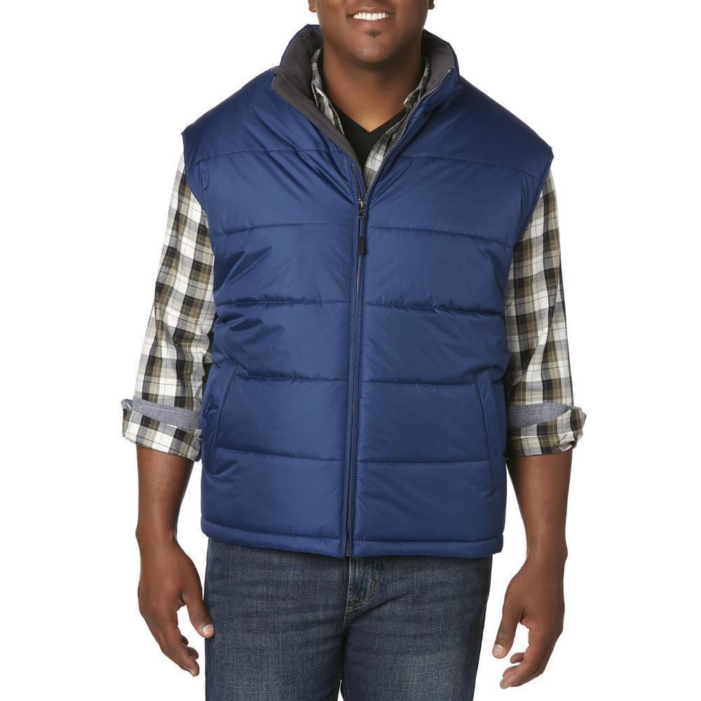Men's Premium Zip Up Water Resistant Insulated Puffer Sport Reversible Vest