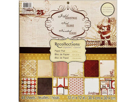 Recollections Joyful Christmas Cardstock Paper Pad 48 Sheets
