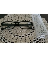 Black Plastic Framed ~ Spring Hinged ~ +2.00 Reading Glasses w/Clear Cas... - $16.50