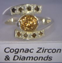 Cognac Zircon and Natural Cognac Sparklies Handmade Silver Ladies Ring size 7 - £112.85 GBP