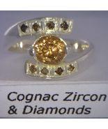 Cognac Zircon and Natural Cognac Sparklies Handmade Silver Ladies Ring s... - £112.85 GBP
