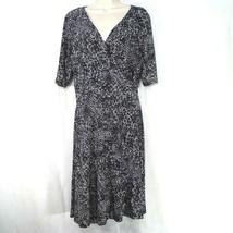 Lauren Ralph Lauren Wrap Dress Tie V-neck Women Size 16 Black Cream Shor... - $39.59