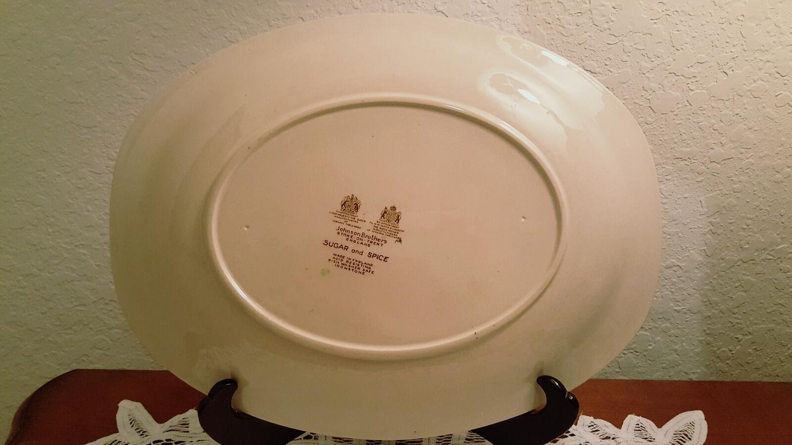 Vintage Johnson Brothers Ceramic Sugar and Spice Brown Oval Serving Platter