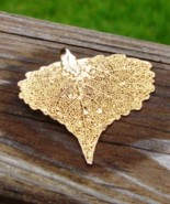 Real Leaf Pendant, Natural Leaf Dipped in 24K Yellow Gold - $25.00
