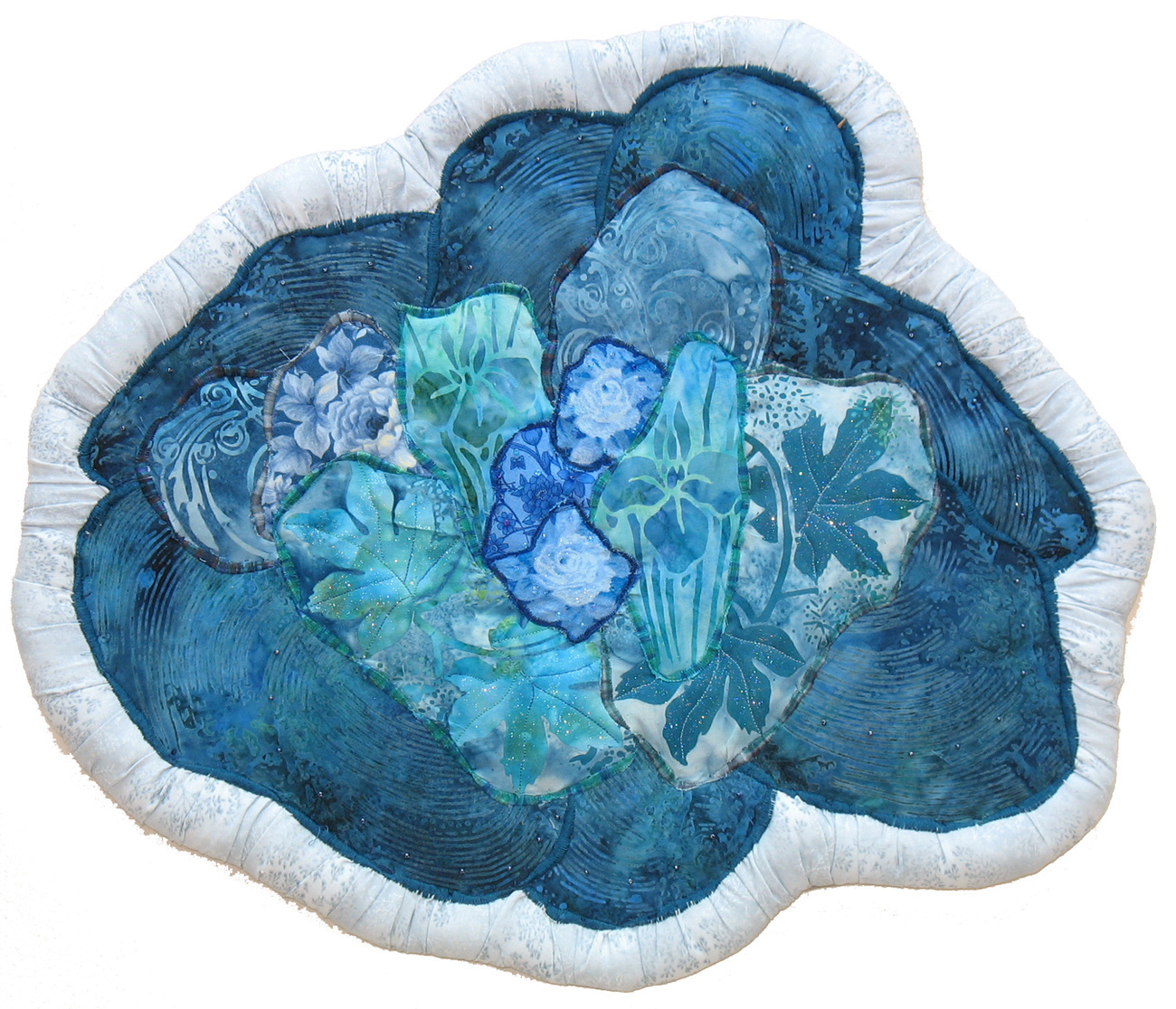 Batik Pond: Quilted Art Wall Hanging