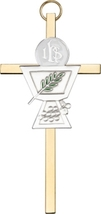 Communion Chalice Wall Cross - Silver on Gold - $32.99