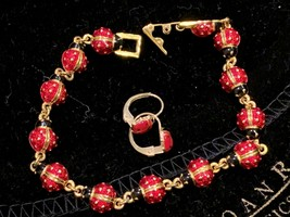 "JOAN RIVERS GOLDTONE LINE 7.5"" BRACELET LEVERBACK EARRING SET RED BLACK ... - $54.00"
