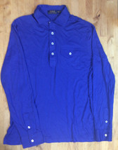 $125 POLO RALPH LAUREN LS KNIT SHIRT, BRIGHT ROYAL/NAVY, Size XL - $69.29