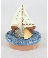 """TCR Sailboat Ocean Seagull Coin Bank Pot Jar Topper Candle Lid 4"""" - $16.82"""