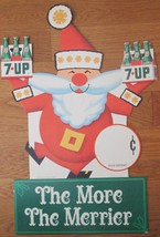 Christmas Santa Claus 7- UP Soda diecut sign circa 1967 near mint - $85.00
