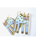 LAUREL BURCH Cat Earrings, Alexander's Animal, Whimsical, Pastel Blue, G... - $48.00