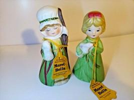 1978 Girls Green Coats Bunny Lamb Avon Merri Bells Bell Vintage Bisque Porcelain - $9.45