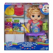 Baby Alive Happy Hungry Baby Blond Curly Hair Doll Makes 50+ Sounds & Phrases - $52.96