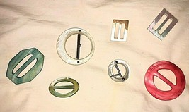 Lot of 7 Fun Ribbon Slide Buckles Assorted Colors Mother of Pearl - $24.26
