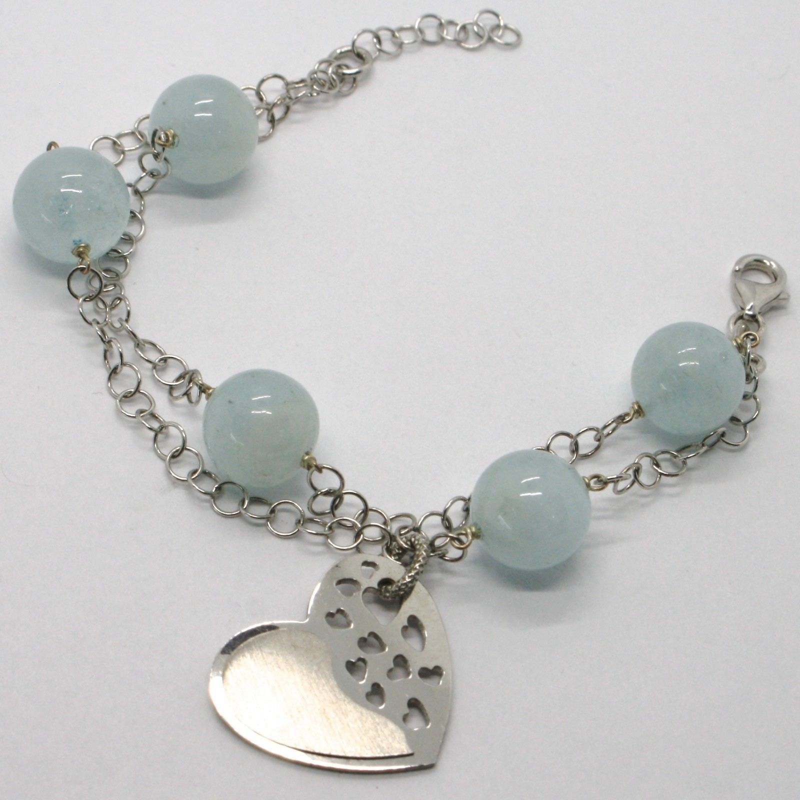 925 STERLING SILVER BRACELET BIG AQUAMARINE 12 MM BALLS & SATIN HEART PENDANT