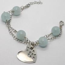 925 Sterling Silver Bracelet Big Aquamarine 12 Mm Balls & Satin Heart Pendant - $84.55