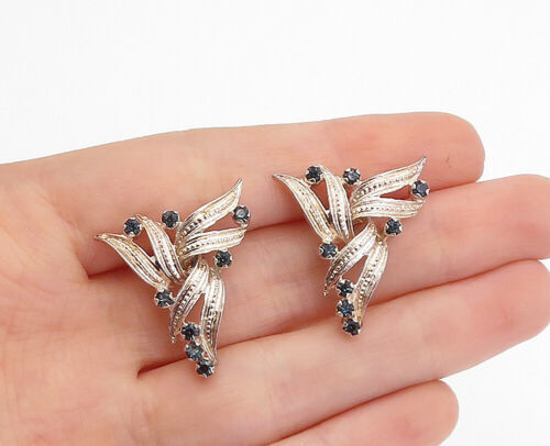 Primary image for 925 Sterling Silver - Vintage Petite Blue Topaz Ribbon Drop Earrings - E9620