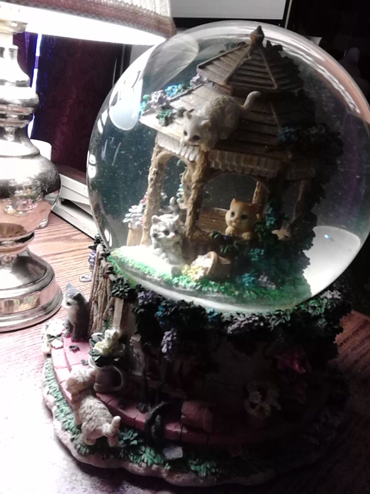 RARE San Francisco Music Box Co. Kitty Glitter Globe - Plays You've Got a Friend