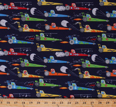 Rat Race Cars Racecars Dragsters Navy Blue Cotton Fabric Print by Yard D... - $11.95