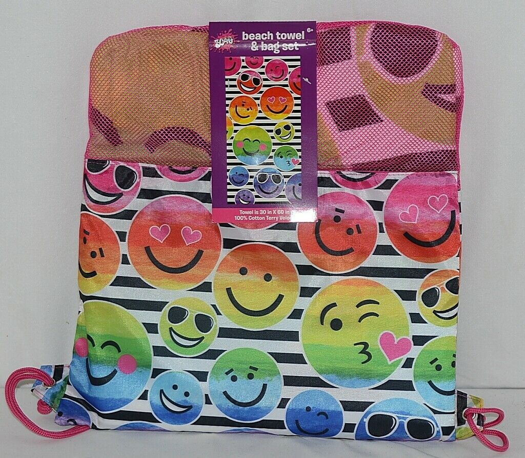 Three Cheers for Girls Brand 4754 Smiley Face Beach Towel Bag Set