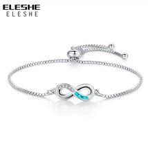 ELESHE Luxury Opal Crystal Bracelet Silver Color Infinity Charm Women Bracelet C - $10.07