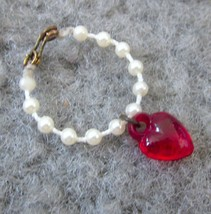 Vintage Barbie Pearl Necklace with Red Heart - $2.96