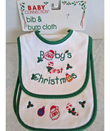 Baby's First CHRISTMAS themed BIB & BURP CLOTH SET green trim - $6.99
