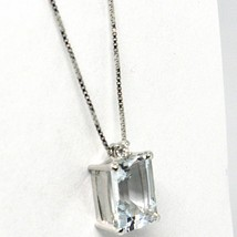 18K WHITE GOLD NECKLACE AQUAMARINE 1.30 EMERALD CUT & DIAMOND, PENDANT & CHAIN image 2