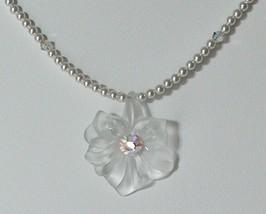 Sterling Swarovski Crystal Pearl Flower Lucite Necklace White - $39.99