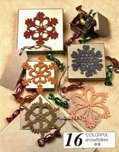 Y965 Crochet PATTERN ONLY 5 Colorful Snowflakes Christmas Ornament Patterns - $10.50
