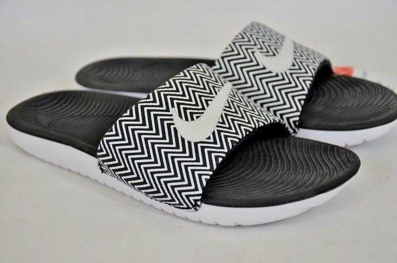 02cf7931386fd Nike Kawa Slide Print Women s Black White Slip on Sandals Size  7 NEW no box
