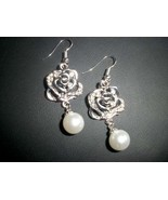 Beautiful Rose Imitation Pearl Silver Dangle Ea... - $10.00