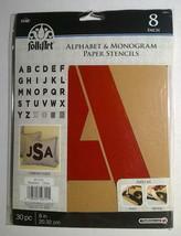 "Plaid Folkart Paper Stencils ~ Alphabet & Monogram ~ 8"" Script ~ NEW - $16.82"