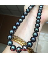 long AAAAA 23 inch 11-12mm Natural REAL ROUND TAHITIAN black pearl neckl... - $521.49