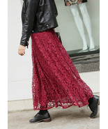 French Charm Burgundy Lace Long Skirt. Wine Red Lacy Skirt Princess Skirt - $77.00