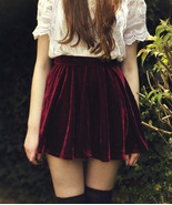 Burgundy Velvet Skirt. Retro Style High Waist P... - $39.90