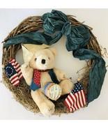 "July 4 Grapevine Wreath Teddy Bear w/ Paper Hat Drum Flags Blue Bow 16"" - $48.37"