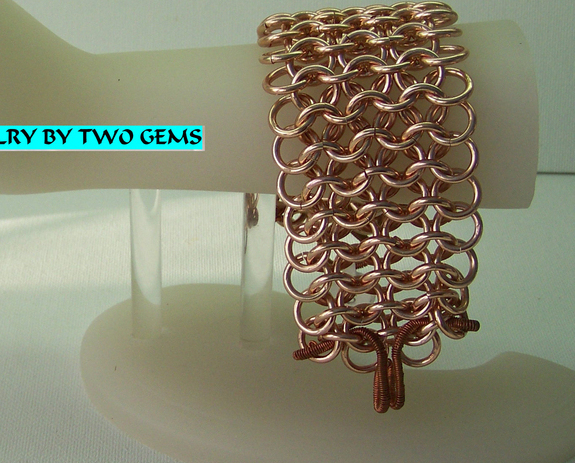 Jewelry By Two Gems (B16) Copper Aluminum 4 row European Chainmaille Bracelet