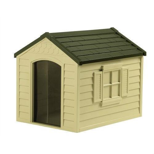 Primary image for Durable Outdoor Plastic Dog House in Taupe and Bronze - For Dogs up to 70 pounds