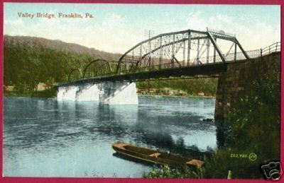 FRANKLIN PENNSYLVANIA Valley Bridge Boat PA Postcard