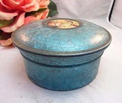 1920's metal powder box with litho  scene. Blue - $16.99