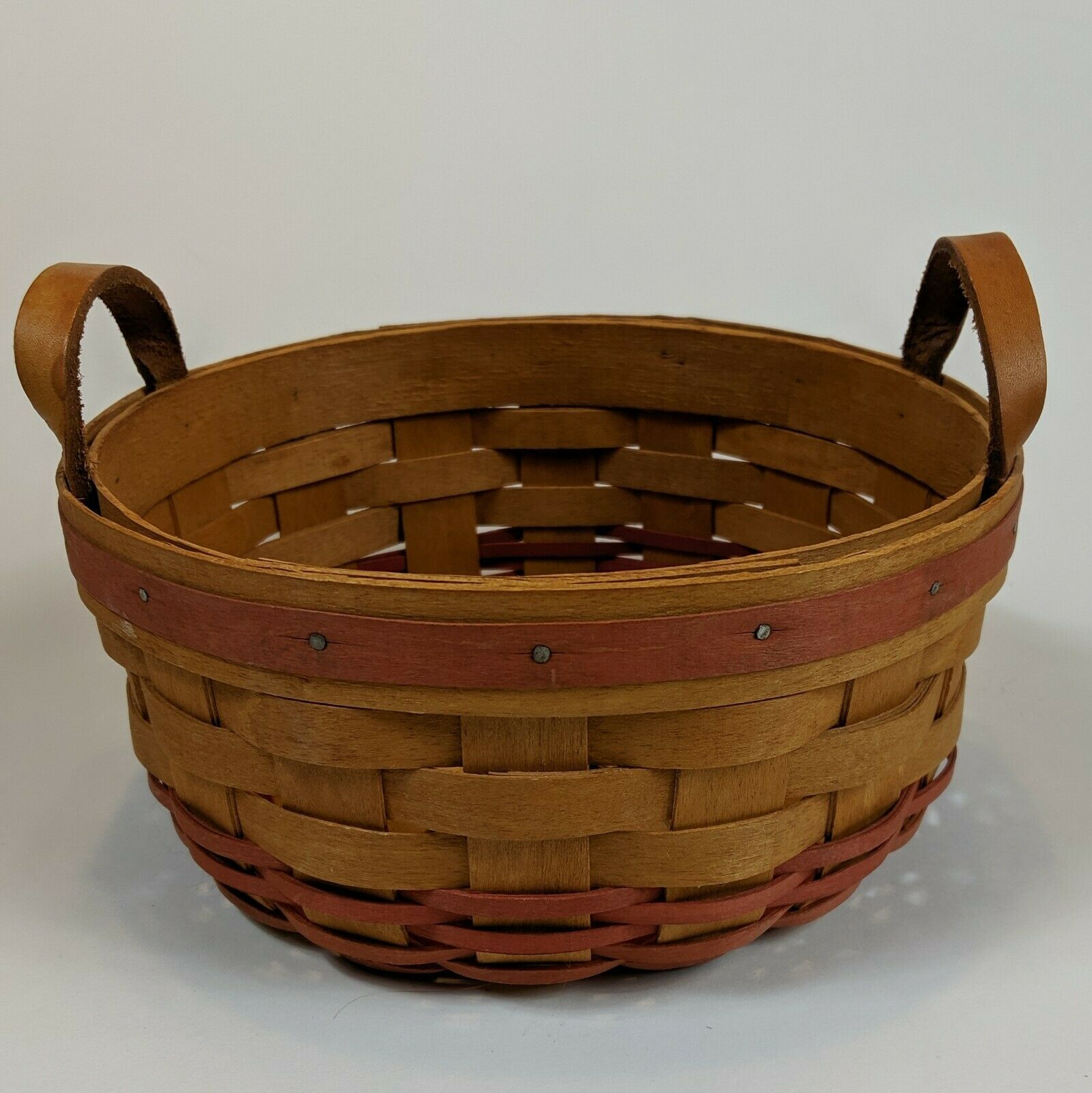 """Longaberger 8"""" Round Basket 1995 Floral Liner Plastic Protector Leather Handles"""