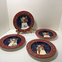 "4 Dessert Plates Sue Winget Certified International Victorian Snowman 8.5"" - $29.02"