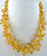 NATURAL CITRINE BEADS FACETED TEAR DROPS 1 LINE 484 CTS GEMSTONE SILVER ... - $319.20
