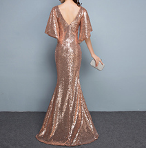 Rose Gold Sleeves Sequin Dress Gold Maxi Long Plus Size Mermaid Sequin Dress NWT image 2