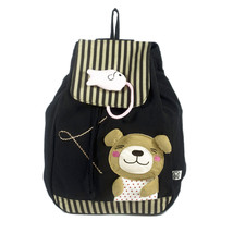 [Bear & Fish] Cotton Fabric Art School Outdoor Backpack - $29.99